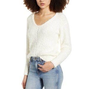 BP V-Neck Ivory Eyelash Chenille Sweater Sz S